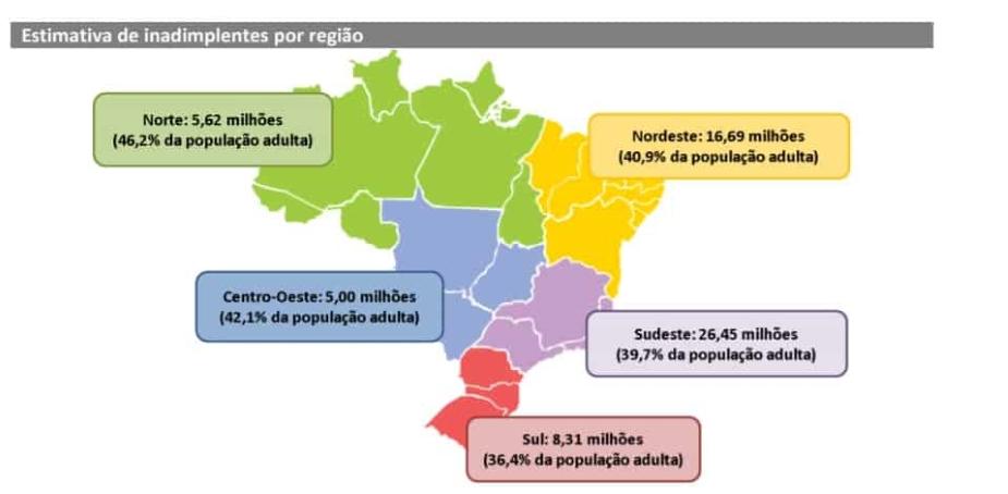 mapa com a estimativa de inadimplentes por região