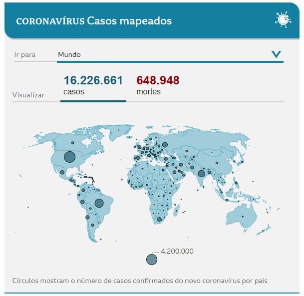 casos coronavirus no mundo